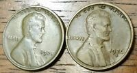 1925S 1926D LINCOLN WHEAT CENT PENNY FINE TO  FINE