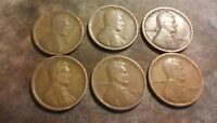 LOT OF 6 1916 TO 1921 1C LINCOLN WHEAT CENT PENNIES  ALL DIFFERENT  C2