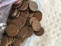 WHEAT PENNIES 500 CENTS US  COINS 1954-P COPPER PENNY/LOT BAG 10 ROLLS