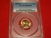 1955-S 1C PCGS MINT STATE 66RD SUPERB GEM RED UNC SAN FRANCISCO MINT LINCOLN WHEAT CENT