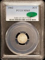 1862 THREE CENT PIECE SILVER 3C TRIME PCGS MINT STATE 65 CAC