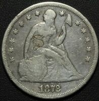 1872 SEATED LIBERTY SILVER DOLLAR - LOVE TOKEN - FANCY 'S' ON OBVERSE