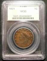 1821 1C CORONET HEAD LARGE CENT PCGS VF-30  OLD GREEN LABEL PQ