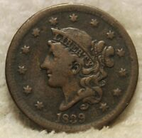 1839 LARGE CENT SILLY HEAD