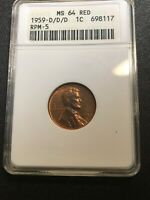 1959 D/D/D  ANACS MINT STATE 64 RED PENNY RPM-5