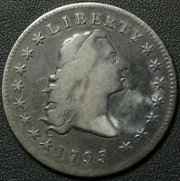 1795 THREE LEAF FLOWING HAIR SILVER DOLLAR - REPAIRED & SLIGHTLY BENT