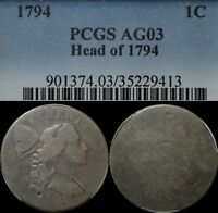 1794 HEAD OF '94 LIBERTY CAP FLOWING HAIR LARGE CENT PCGS AG 03