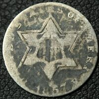 1857 THREE CENT SILVER TRIME PIECE