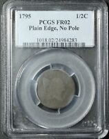 1795 LIBERTY CAP FLOWING HAIR HALF CENT - PLAIN EDGE NO POLE - PCGS FR 02