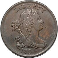 1804 SPIKED CHIN DRAPED BUST HALF CENT - PCGS AU DET - C5 R4 - REV BISECTING CRK
