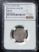 Y-143A.6 L&M-238 CHINESE 1901 CHINA KIANGNAN SILVER 20 CENTS NGC MINT STATE 63