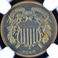 1864 2C TWO-CENT PIECE LARGE MOTTO NGC PF 66 RB 4496763-004 TONING