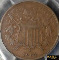 1864 VF35 PCGS 2C TWO CENT,  SMALL MOTTO WE FULLY VISIBLE, SHIPS FREE