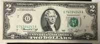 1976 UNITED STATES FEDERAL RESERVE NOTE $2 TWO DOLLARS CHICAGO ILLINOIS