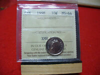 1998  CANADA   DIME  10 CENTS  PIECE   COIN   I.C.C.S. GRADED MS 64   SEE PHOTOS