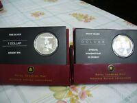 LOT OF 2   2005   2006   PROOF SILVER DOLLARS  CANADA 1 $  COINS  .999   SILVER