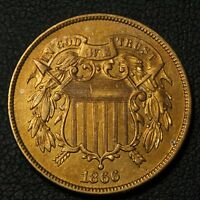 1866 COPPER TWO CENT PIECE   CLEANED