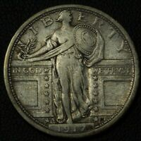 1917 S TYPE 1 STANDING LIBERTY SILVER QUARTER   CLEANED