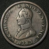 1783 COLONIAL COPPER WASHINGTON & INDEPENDENCE LARGE MILITARY BUST TOKEN PIECE