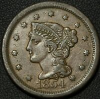1854 BRAIDED HAIR COPPER LARGE CENT