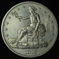 1875 CC TRADE SILVER DOLLAR   CARSON CITY    CLEANED
