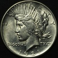 1921 HIGH RELIEF PEACE SILVER DOLLAR   LUSTROUS