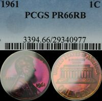 1961 LINCOLN MEMORIAL CENT PENNY PCGS PR 66 RB   BEAUTIFUL PURPLE TONING