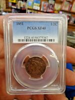 1851 BRAIDED HAIR HALF CENT PCGS EXTRA FINE 40