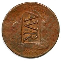 1805 AVR COUNTERSTAMP DRAPED BUST HALF CENT COIN 1/2C