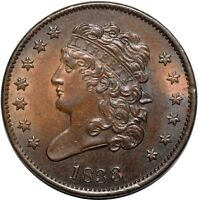 1833 CLASSIC HEAD HALF CENT   PCGS MS62BN   NICE LUSTER & COLOR