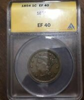1854 BRAIDED HAIR LARGE CENT.. EF 40 ANACS  KIND OF RARE AND