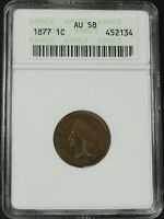 Click now to see the BUY IT NOW Price! 1877 INDIAN HEAD CENT ANACS AU 58   SLAB ERROR: GRADED AS BUSINESS STRIKE