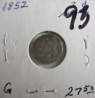 1852 SILVER THREE CENT PIECE CIRCULATED CONDITION GOOD