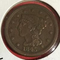 1845 US BRAIDED VARIETY LARGE CENT  EXTRA FINE DETAILS  OLD