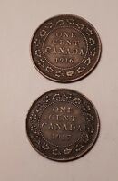 LOT OF 2 : 1916 AND 1917 CANADA LARGE ONE CENT COINS    KING