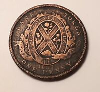 1837 CITY BANK  PROVINCE OF CANADA  DEUX SOUS ONE PENNY BANK