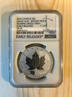 2016 CANADA S$5 MAPLE LEAF REVERSE PROOF ROARING GRIZZLY PRI