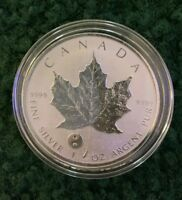 2016  CANADIAN SILVER MAPLE LEAF 1 OZ YIN YANG PRIVY REVERSE