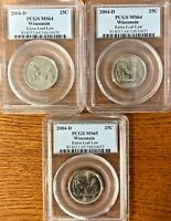 PCGS MS 65/64 2004 D 25C WISCONSIN EXTRA LOW LEAF  3 COINS
