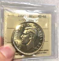 CANADA SILVER DOLLAR 1950 $1 ICCS MS 66 TRENDS $600 ANOTHER