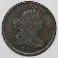 1804 C-6 R-2 DRAPED BUST HALF CENT COIN 1/2C
