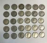 ROOSEVELT DIMES LOT OF 30 COINS 90  SILVER $3.00 FACE VALUE