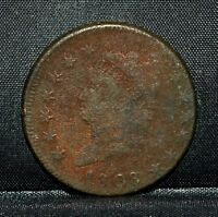 1808 CLASSIC HEAD LARGE CENT  VF  FINE DETAILS  1C  NOW COIN TRUSTED