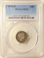1893-O BARBER DIME - PCGS VF35 - BETTER DATE - SHARP LOOKING COIN