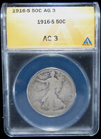 1916-S 50C ANACS AG3. 1ST YEAR OF ISSUE. DESIRABLE S-MINT 0119204