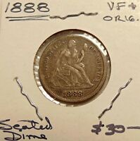 1888-P SEATED LIBERTY DIME -  LOOKING  COIN - SHIPS FREE