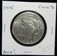 1928 $1 PEACE DOLLAR. KEY DATE CIRCULATED. AU CONDITION.  0119160