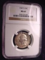 1947-S WASHINGTON QUARTER NGC CERTIFIED MS--67 GREAT TONED COIN 10