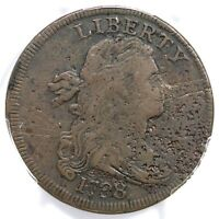 1798 S-144 R-5 PCGS VF DETAILS DRAPED BUST LARGE CENT COIN 1C