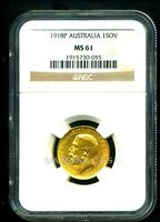 AUSTRALIA 1918 P GOLD COIN GV SOVEREIGN   NGC CERTIFIED GENU